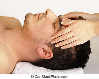 Man face massage - Man getting a face massage