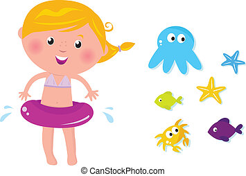 Cute swimmer girl and ocean animals icons