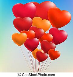 Colorful Heart Shape Balloons. EPS 8