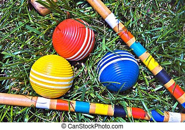 Colorful Croquet Balls - Three colorful croquet balls and...