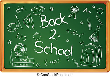 Back to School - illustration of education element on chalk...