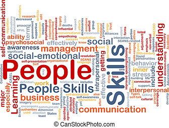 pessoas, habilidades, fundo, conceito