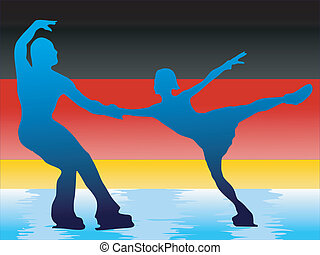 couple of figure skaters on background of flag of Germany