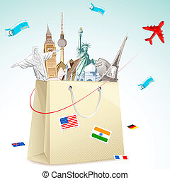 Travel package - illustration of shopping bag full of famous...