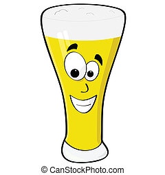 Happy beer - Cartoon illustration of a glass of beer with a...