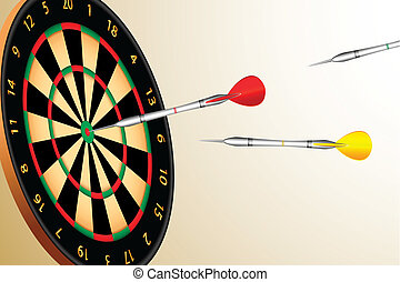 Dart Board - illustration of colorful dart aiming at dart...