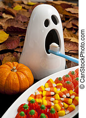 Halloween Ghostly Teeth Brushing - Ghost with Halloween...