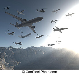 AIRs_IN_MOUNTAINS - three-dimensional, many aircraft and...