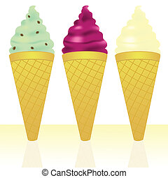 Ice cream cones with mint choc chip, raspberry ripple and...