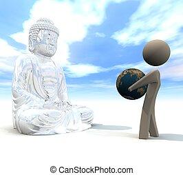 Budda_for_earth - three-dimensional, Budda and human