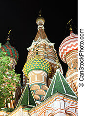 Saint Basil's Cathedral in the night with the tree