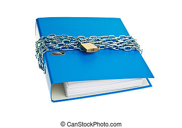 File folder locked with chain - A file folder with chain and...