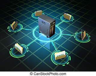 File server - File folders connected to a desktop server....
