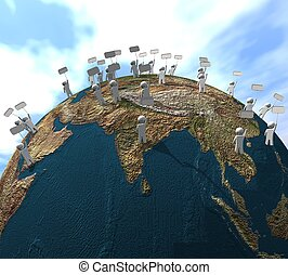 people_protest - three-dimensional, protest of people across...