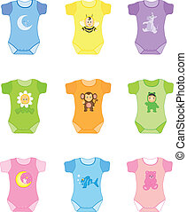 baby clothes for boy and girl Vector