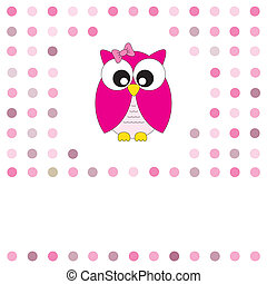 owl pink - Vector cute owl card. Baby girl arrival...