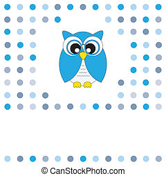 owl blue - Vector cute owl card. Baby boy arrival...