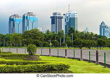 Jarka skyline - Jakarta skyline in public park garden in bad...