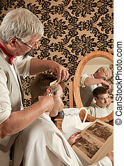 Victorian haircut - Barber cutting the hair of a customer in...