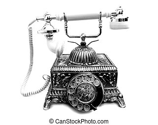 old phone - An old and antique phone in white background