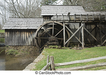old water wheel of a historic gristmill