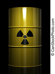 Radioactive waste - Radioactive symbol imprinted onto a...