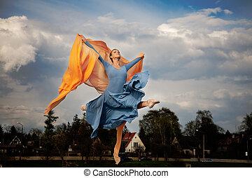 fluing ballerina - fluing proffesional ballerina jumping...