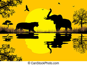 Elephant and tiger in african landscpe near water, vector...