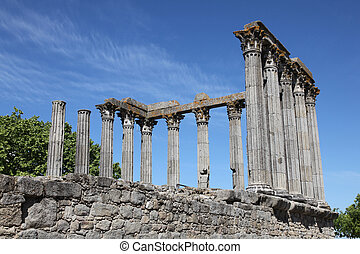 Evora - The ancient remains of the Roman Temple of Evora...