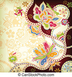 Oriental Floral - Illustration of abstract floral...