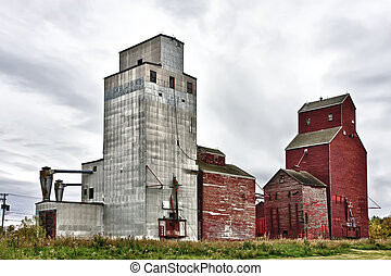 Grain Elevators - Old grain elevators still standing in...