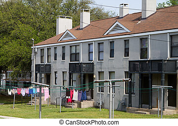 Low Income Housing - Low income housing units with clothes...