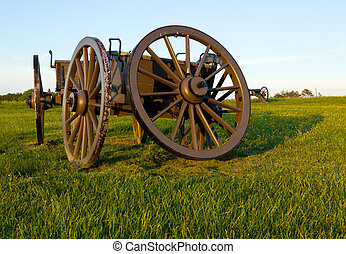 Cart on Manassas Battlefield - Military cartwheel at the...