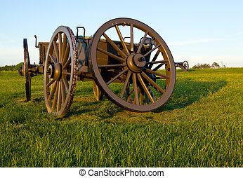 Cart on Manassas Battlefield - Military cartwheel at the...