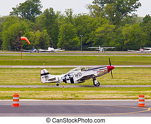 P-51 Mustang airplane - P-51 Mustang air force plane taking...