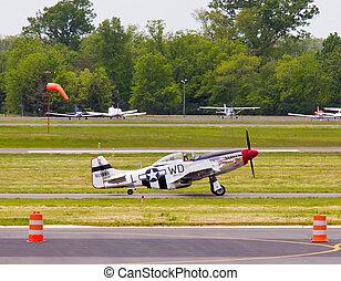 P-51 Mustang airplane - P-51 Mustang air force plane taking...