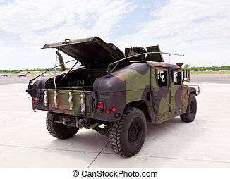 Army camouflaged Humvee truck - Camouflaged humvee truck at...