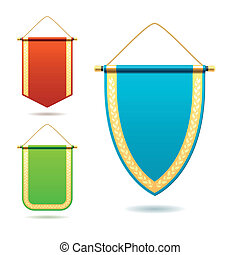 Set of pennants %u2013 detailed vector illustration
