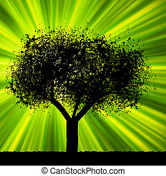 Tree with green burst background. EPS 8