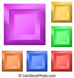 Buttons square, set - Set icons: isolated variegated square...