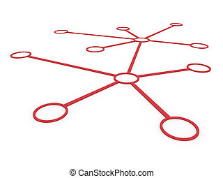 3d network red - 3d network connection circle red social...