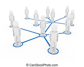 3d men network social blue people connection teamwork