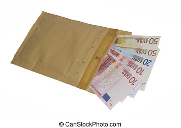 Bribe - Envelope with some banknotes inside. Bribe and...