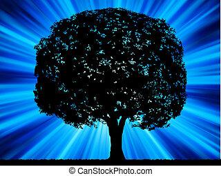 Tree with blue burst background. EPS 8