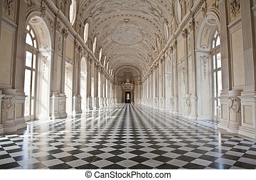 Italy - Royal Palace: Galleria di Diana, Venaria - View of...