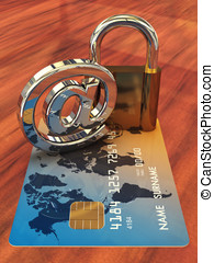 Credit card ,arobase sign and a padlock on wooden table , 3d...