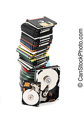 backup technologies - data background (floppy dissc, dvd,...