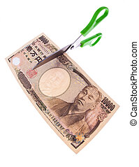 Japanese yen bank notes - Japanese yen notes. Currency in...
