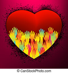 United hands and hearts. EPS 8 vector file included