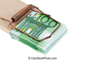 Euro bank notes in a mousetrap. - Many Euro banknotes in a...